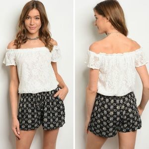 NEW! Ivory Lace & Black Off-the-Shoulder Romper